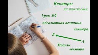 Урок 2. Векторы. Абсолютная величина вектора. Модуль вектора. Геометрия 9 класс.