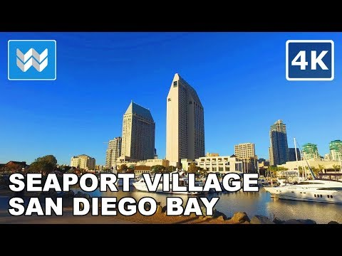 Walking around the Shoreline of San Diego Bay in Downtown San Diego, California - 4K