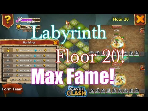 Labyrinth Floor 20 MAX FAME And Gameplay Castle Clash