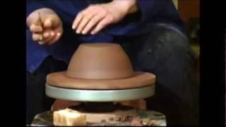 Trimming a Pottery Bowl on the Wheel