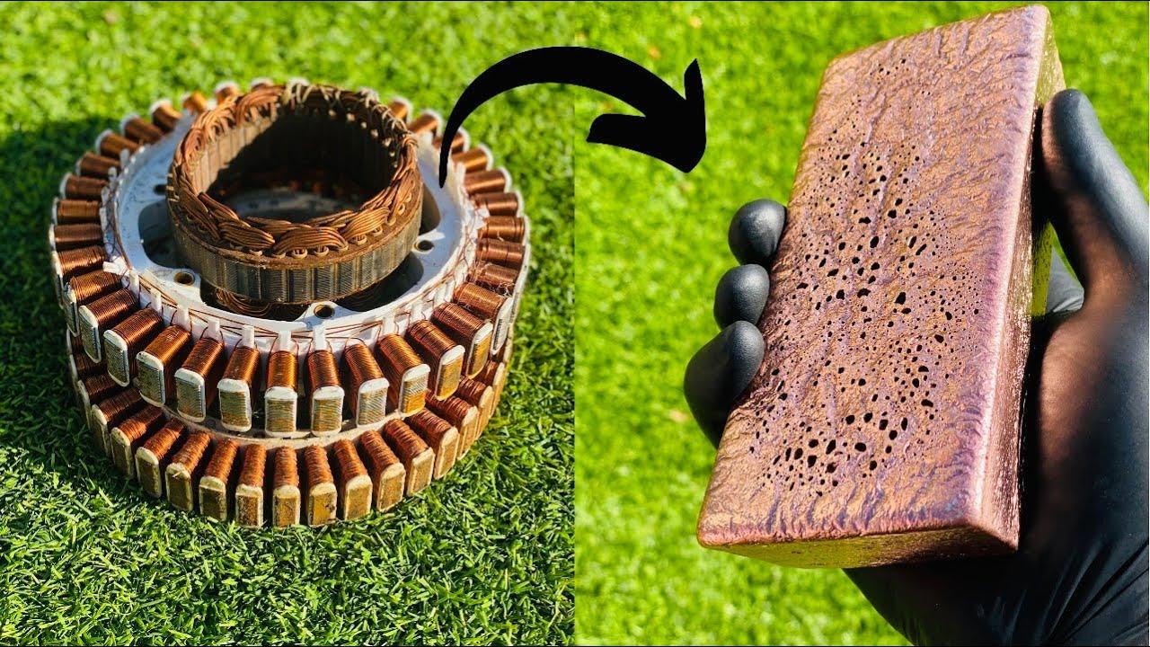 Copper Casting Motor Rotor Stators - Scrapyard Salvage Dumpster Diving -ASMR Metal Melting BigStackD
