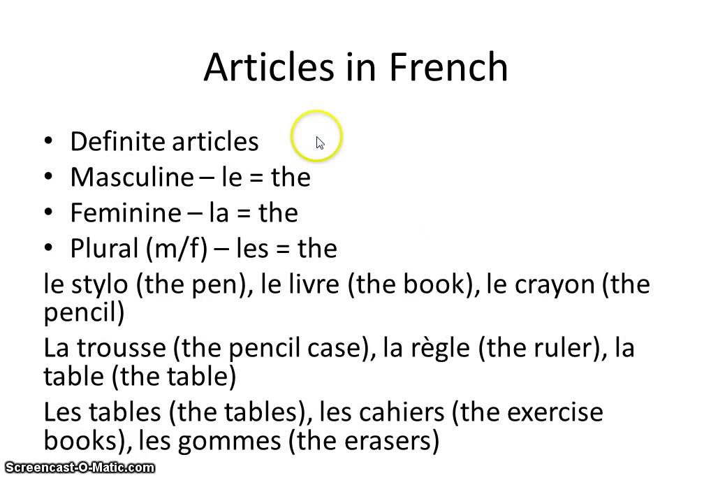 how to say noun in french