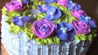 Кремовый торт с цветами,Как украсить торт белковым кремом.Cake Basket With Flowers