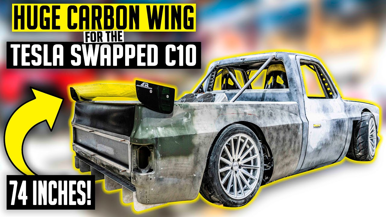 Download Largest Carbon APR Wing for the Tesla Swapped Squarebody! - Electric C10 Ep. 16