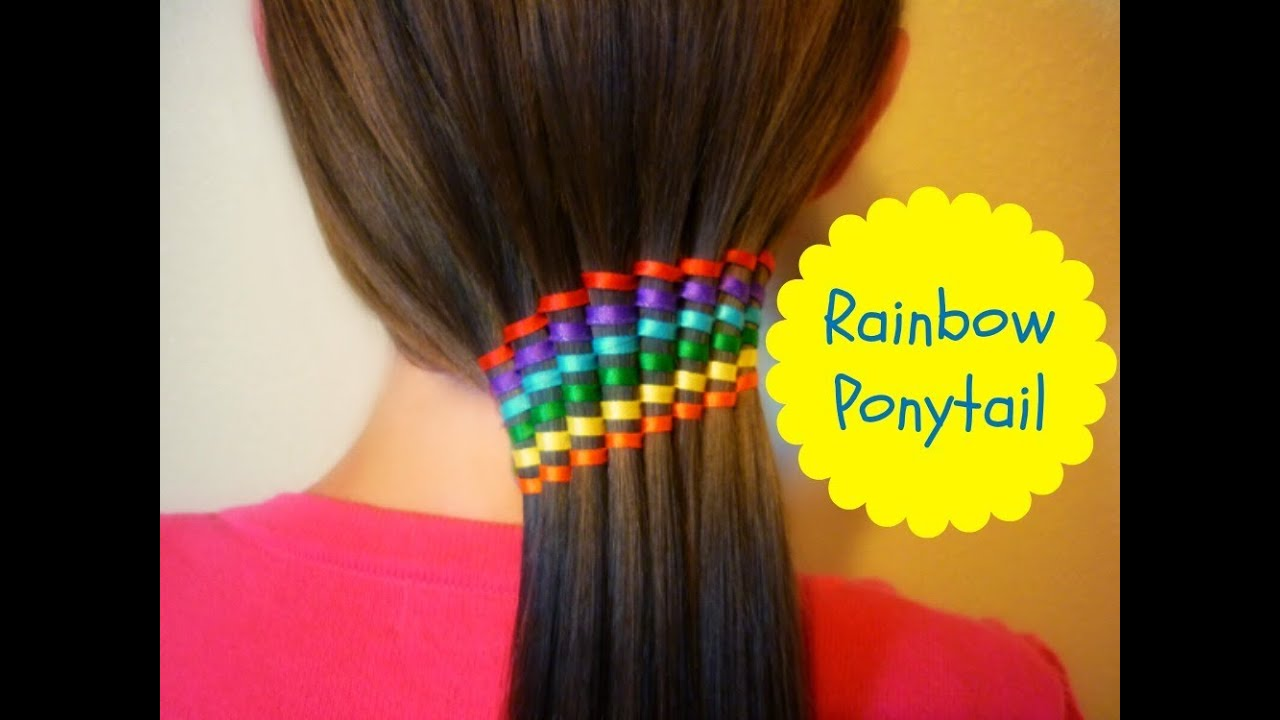 Waterfall Ribbon Twist Rainbow Ponytail Summer Hairstyles  YouTube