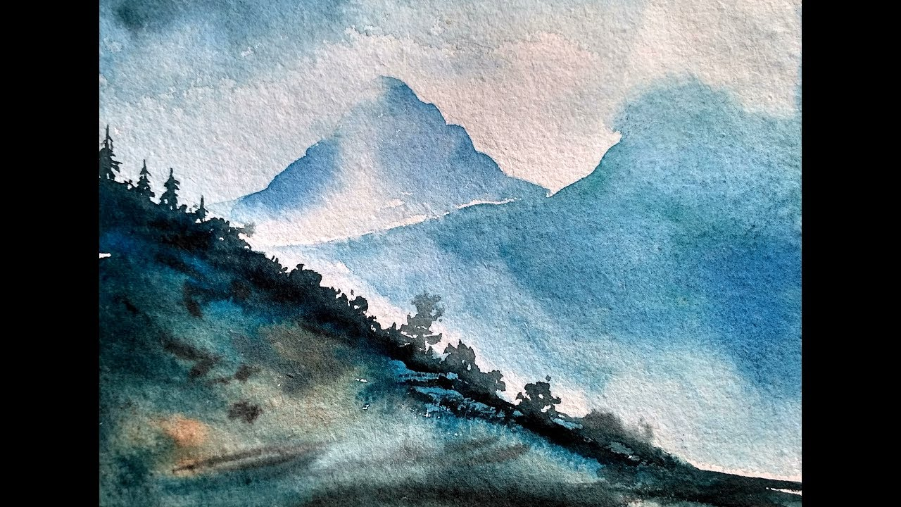 Simple Mountain Landscape Watercolor Painting Tutorial For
