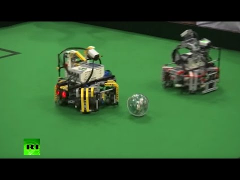 Battle of the machines: Robots compete in football final at World Robotics Olympiad 2016