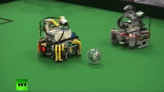 Battle of the machines  Robots compete in football final at World Robotics Olympiad 2016