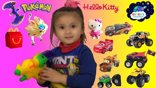 2017 Pokemon Sun and Moon Hello Kitty McDonalds Happy Meal Toys Surprise Disney Cars 3 Monster Jam