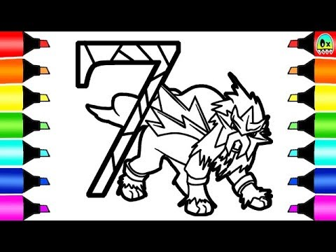Pokemon Coloring Pages Entei And The Number Seven I Fun Colouring Numbers  For Kids