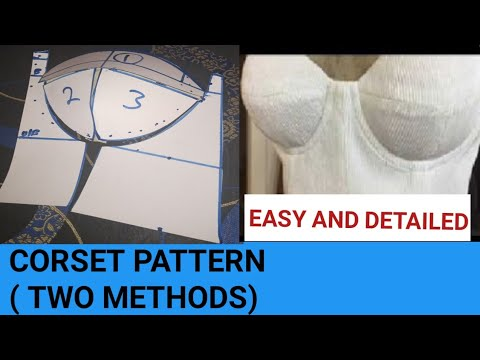 Download CORSET PATTERN (TWO EASY METHODS). How to draft and cut corset bustier pattern. CORSET DIY.