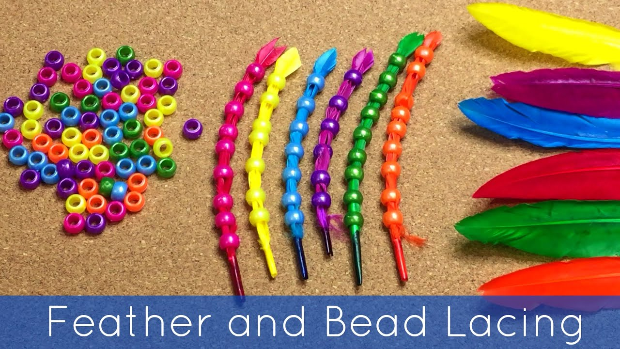 Feather and bead lacing fine motor activity for preschool for Fine motor activities for adults