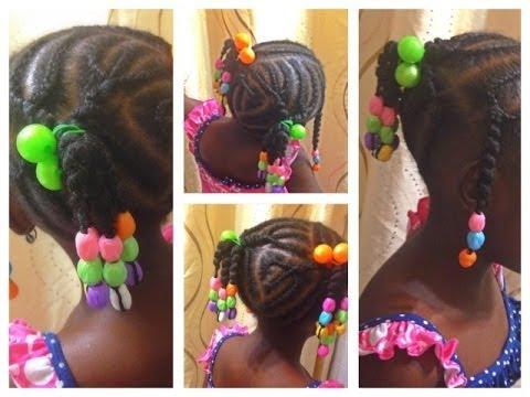 natural hair kids cornrows african threading beads damage free method youtube