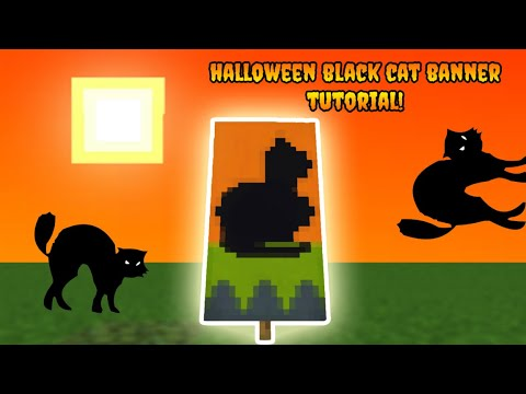 Minecraft Banner Tutorial How To Make A Halloween Black Cat Banner Youtube