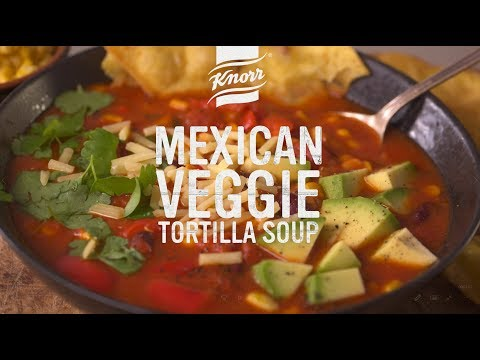Mexican Veggie Soup with Tortillas | Homemade in 3 easy steps