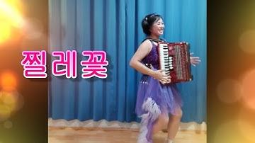 아코디언으로 트로트를 연주하는 아줌마 한춘화-찔레꽃