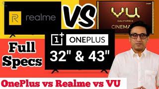 """OnePlus TV Y Series 32"""" & 43"""" vs Realme TV vs VU Cinema TV 🔥🔥 MUST WATCH BEFORE BUYING ⚡⚡"""