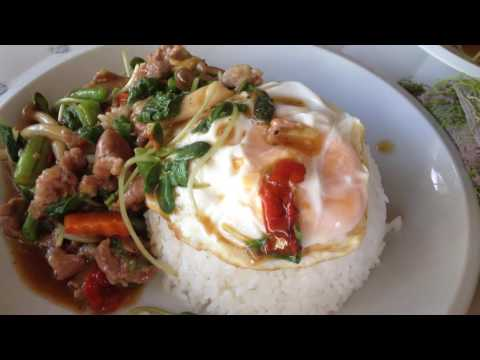 Lao street food, fried mix-vegetables with meat, noodle soup, Fast food, Lao food