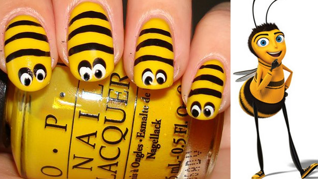 Bee nail art tutorial youtube bee nail art tutorial prinsesfo Choice Image