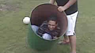 Lalo and Miguel roll Luis in a garbage can.[warm up]