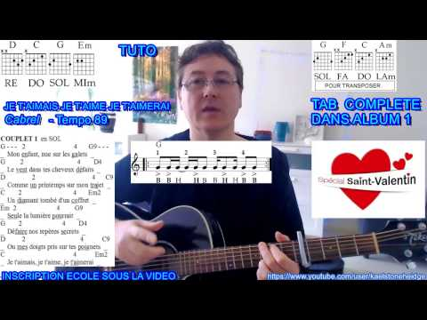 Je T'aimais, Je T'aime, Je T'aimerai (Cabrel) Tuto 2/3 Guitare Débutant + Tab