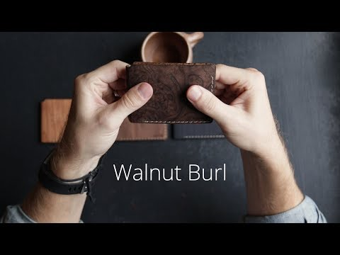 Carved Wood Wallet On Display