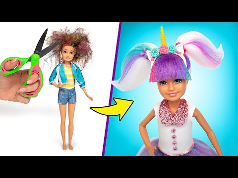 barbie-doll-l.o.l.-makeover!-how-to-make-l.o.l.-unicorn-outfit-and-hair
