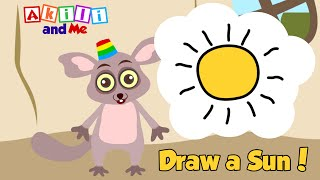 Learn to Draw a Sun! | Draw with Akili and Me | Educational Cartoons for Preschoolers