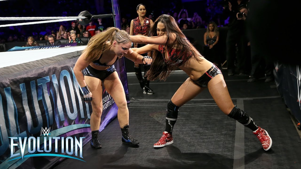 evolution-ronda rousey-nikki bella-brie bella-championship-wwe raw