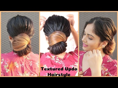 2-min-textured-updo-hairstyle-/-easy-hairstyle-for-medium-to-long-hair