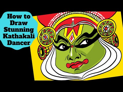 draw-kathakali-dancer-face-|-easy-portrait-drawing-for-kids-|-ipad-pro-|-procreate