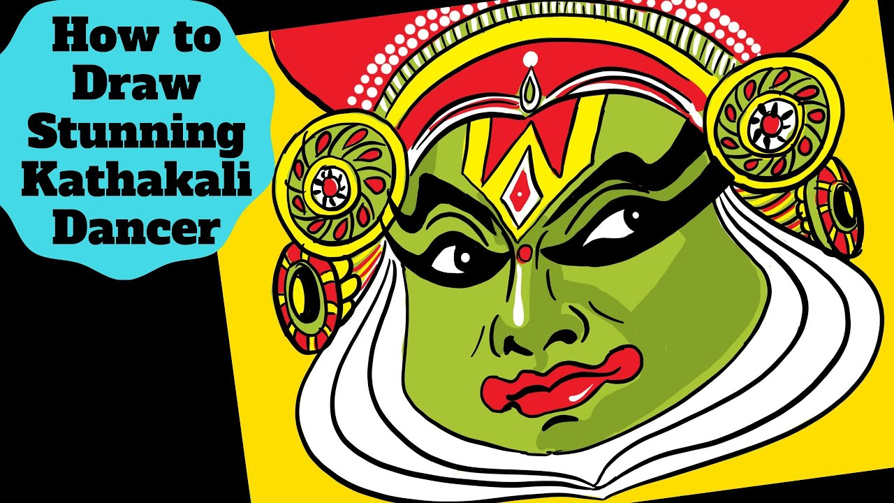 How To Draw Kathakali Dancer Face Amazing Kathakali Drawing For Onam Festival Atha Pookalam Youtube