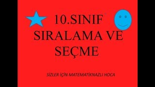 2018-2019 10.SINIF MATEMATİK SIRALAMA VE SEÇME