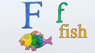 Learn alphabetically and draw the letter F | Fish