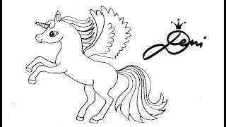 Springendes Pegasus Einhorn zeichnen lernen 🐎 how to draw a jumping unicorn 🦄 Pferd Fohlen Pony 🐴