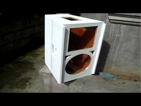 my speaker cabinet with primer paint applied - YouTube