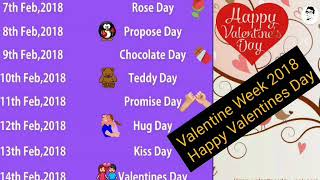 VALENTINES DAY WEEK 2018 || Hug day, Promise Day,Teddy Day,Chocolate Day,Propose Day,Rose Day ||