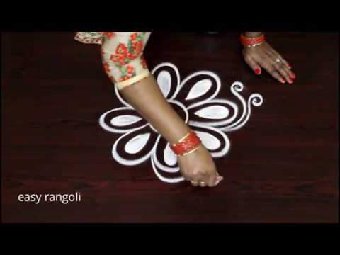 very simple free hand rangoli kolam designs by Suneetha || indian arts || latest small muggulu