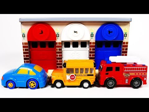 Learn Colors with Toy Car Vehicles Garage Parking Playset Toddlers and Babies Compilation 2018