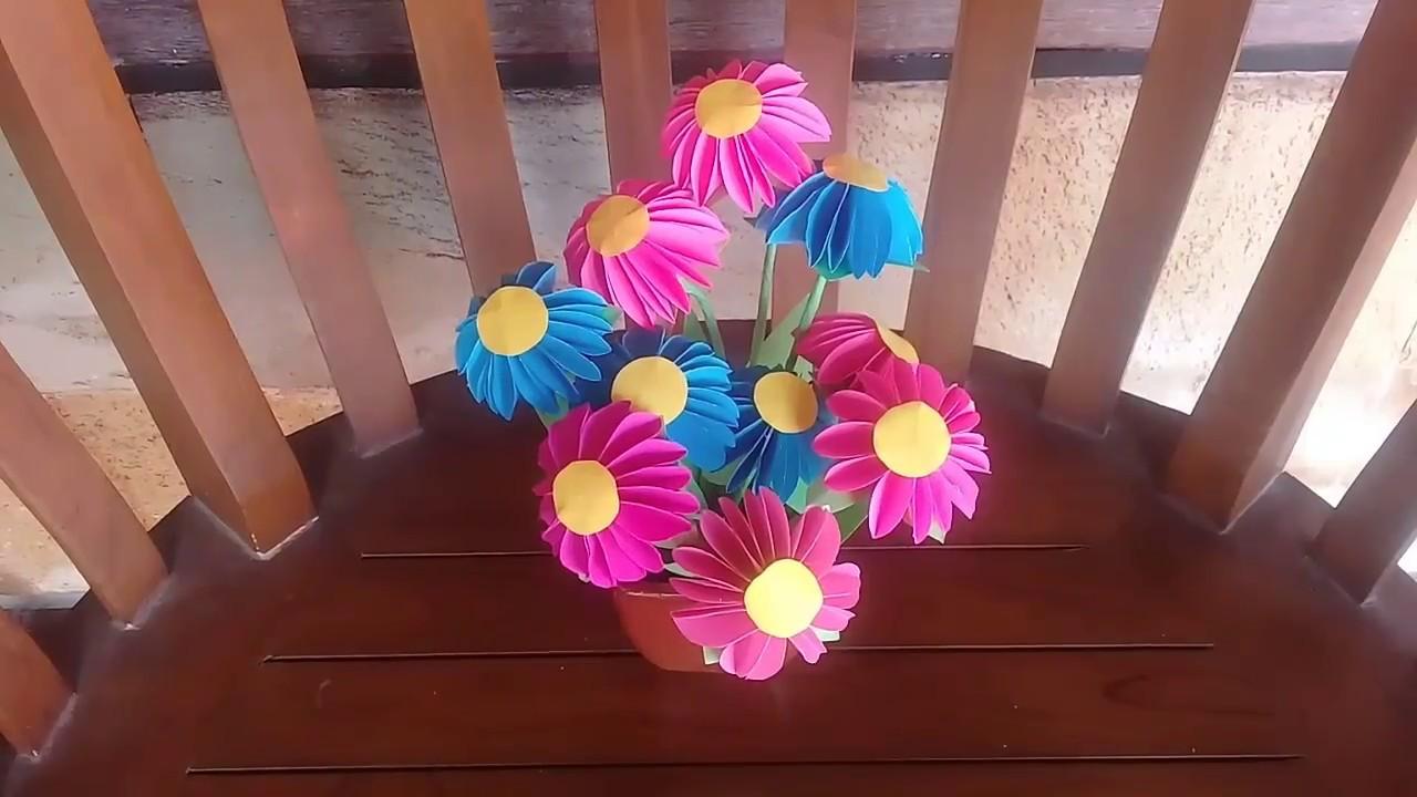 Ide Kreatif Bunga Dari Kertas Origami Prakarya Anak Sd Youtube
