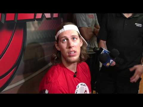 Kelly Olynyk makes first promotional appearance for the Miami Heat at Summer Camp