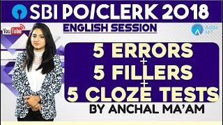 SBI CLERK| 5 Errors + 5 Fillers + 5 Cloze Tests | English |Anchal mam