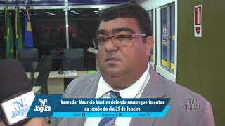 Vereador Maurício Martins defende seus requerimentos da sessão do dia 29 de Janeiro