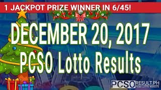 PCSO Lotto Results Today December 20, 2017 (6/55, 6/45, 4D, Swertres, STL & EZ2)