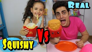 SQUISHY FOOD VS. REAL FOOD CHALLENGE!!! squishies Zarola kids