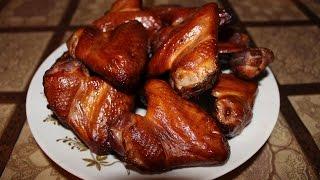 Копчение куриных крылышек к пиву, полугорячего копчения, chicken wings with beer.