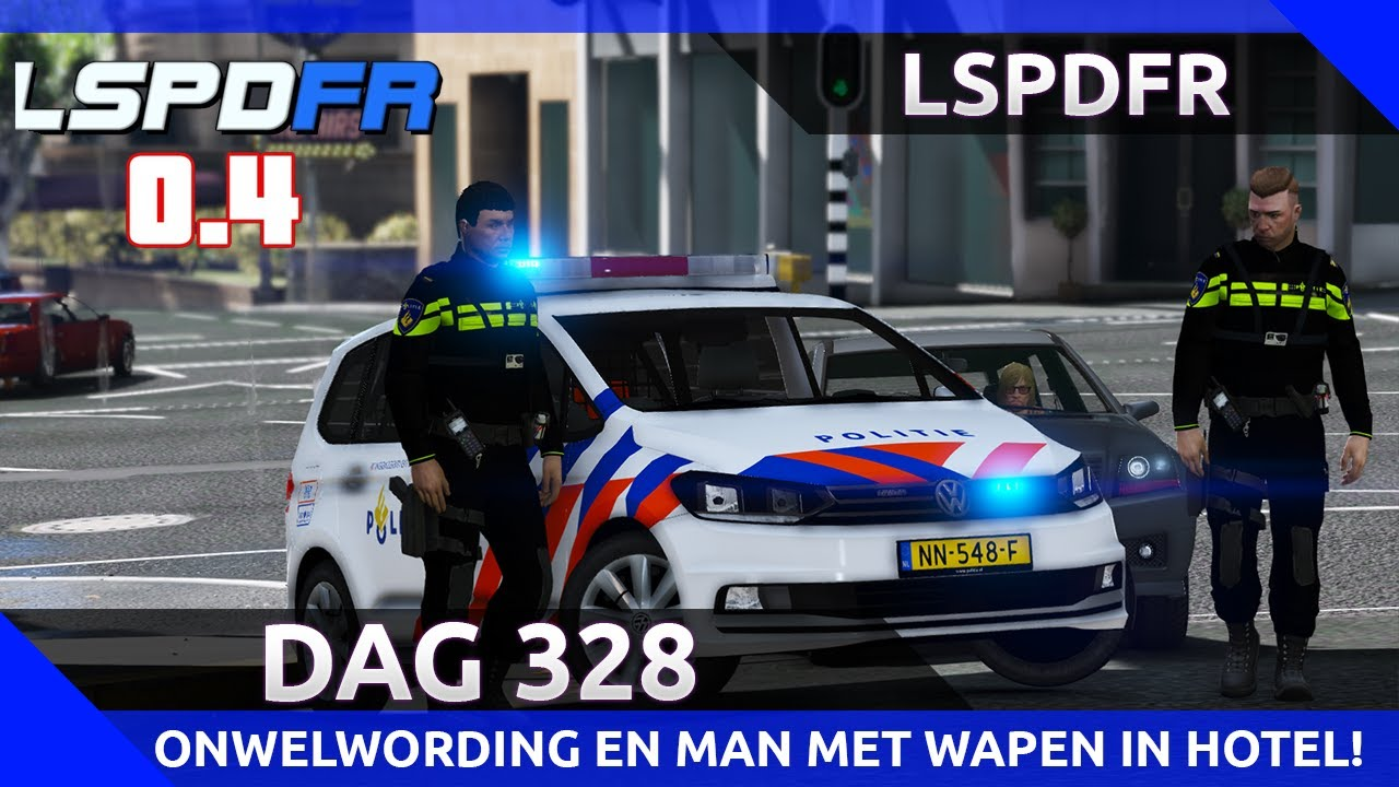GTA 5 lspdfr dag 328 - Onwelwording in auto + man met vuurwapen in hotel!