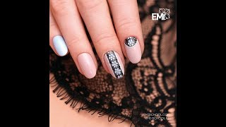 Flowers and lace on the nails. Nail Design Tutorial.