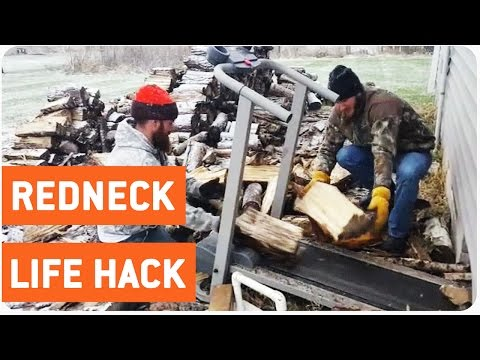 Guys Use Treadmill to Transport Firewood | Winter Life Hack