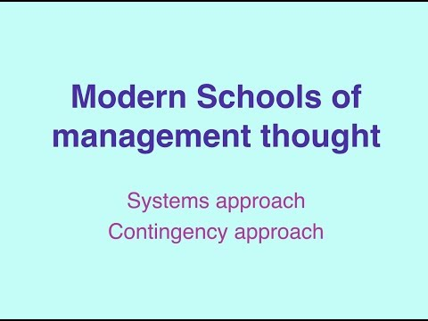 System & Contingency Approach - Modern School of Management thought